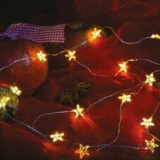 Tündérfény Csillaggal, Meleg Fehér, Ezüst Színű Rézkábel, 20 LED, 2 Méter
